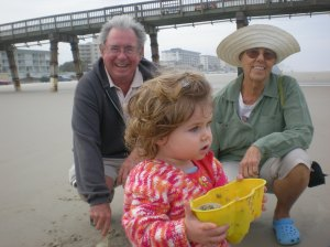 at the beach with Nana & PoPo